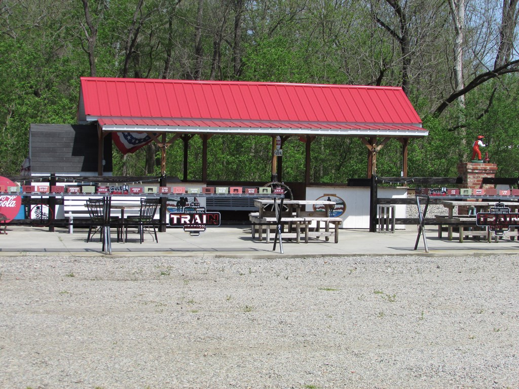 Train Stop with patio and picnic tables